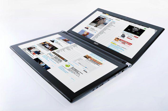 Das Acer lconia - Notebook mit zwei Touchscreens, einer dient als Tastatur