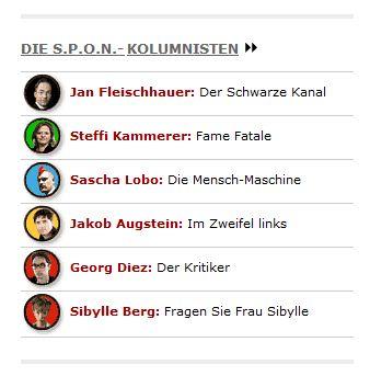 Screenshot von Spiegel Online mit den aktuellen SPON Kolumnisten. Unter anderem auch Sascha Lobo.