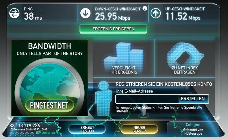 Über 25 Mbit mit o2 LTE