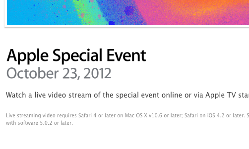 Screenshot der Apple Website zum Live Stream des Apple Events am 23.10.2012