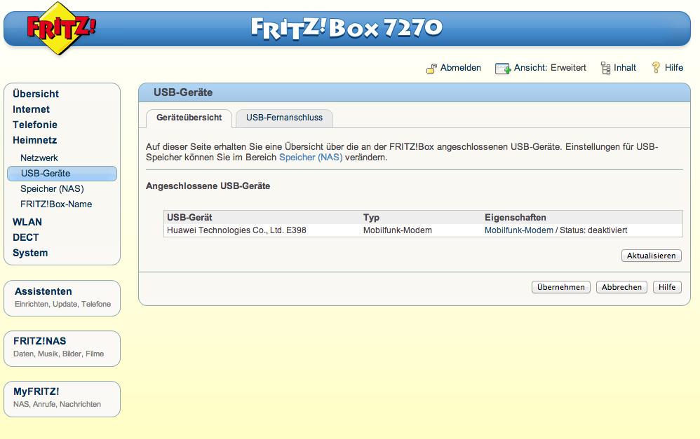 Anschluss Huawei E398 an Fritzbox 7270
