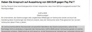 Screenshot Webseite Imanuel Schulz Anspruch PayPal Gewinn