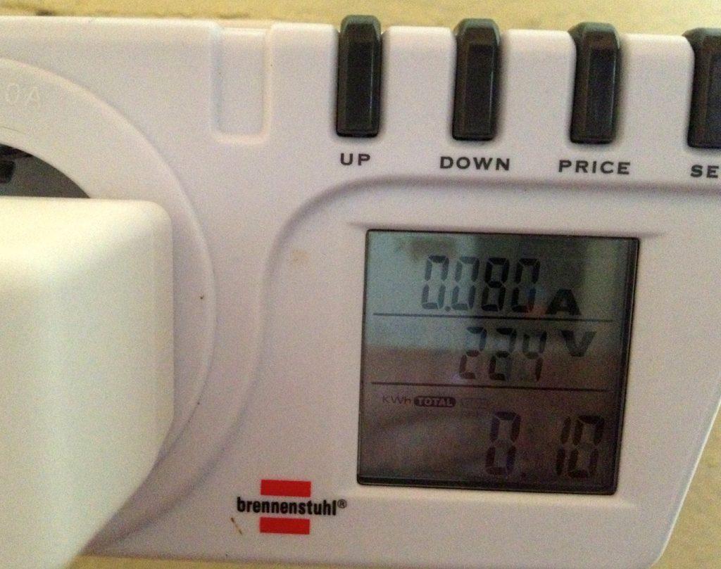 Stromverbrauch der o2 Signal Box nach 12 Stunden Betrieb