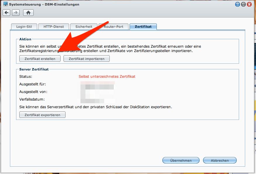 """3. In den DSM-Einstellungen den Tab """"Zertifikat"""" aufrufen und ein """"Zertifikat erstellen""""."""