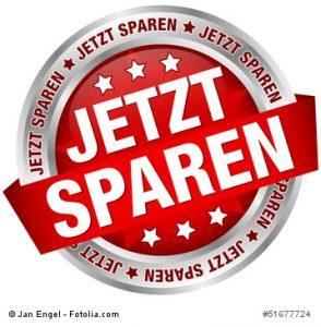 """Button Banner """"Jetzt sparen"""" rot/silber"""