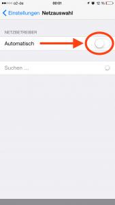 iPhone Screenshot zur Deaktivierung von National Roaming von o2 und eplus