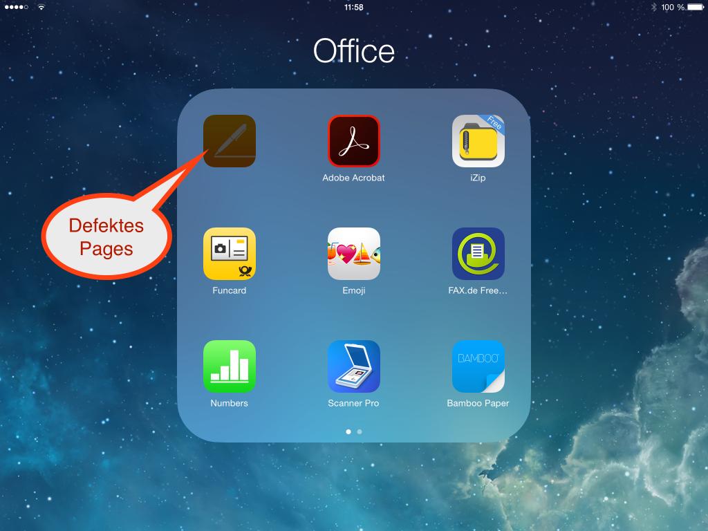 So sieht ein defektes Pages auf dem iPad aus, das sich nicht mehr updaten lässt.