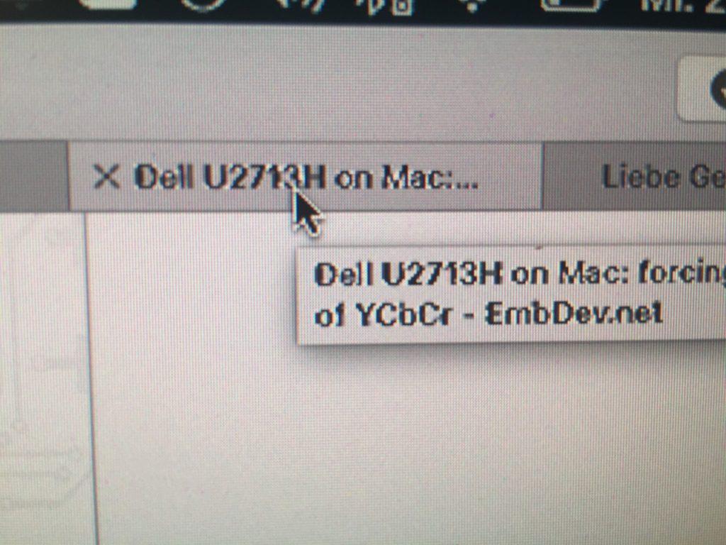 Verschwommenes Bild und Schrift an einem HP LP2475w als externer Monitor eines MacBook